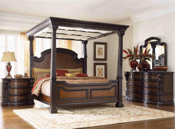 12 canopy bed set in dark chocolate
