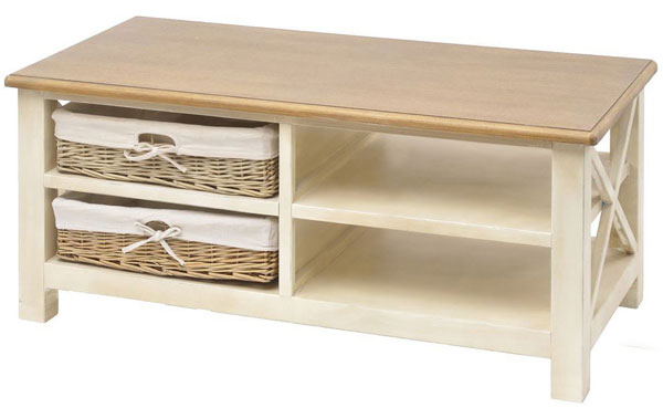 22 well designed coffee tables with basket for storage for Antique cream coffee table