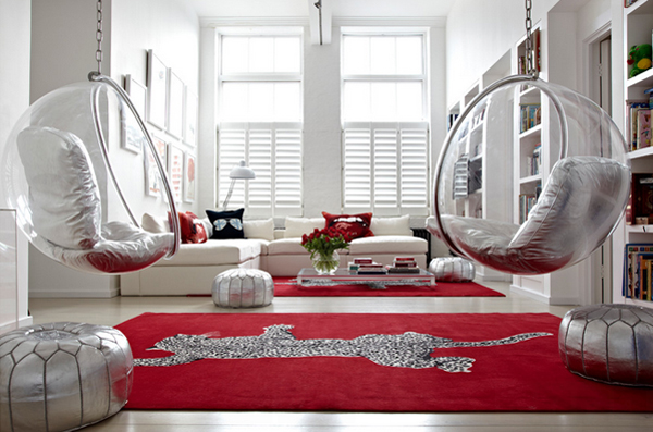 hanging chairs and bean bags they sure add fun and glam to this home