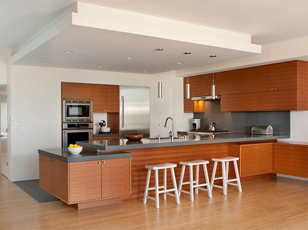 20 dashing and streamlined modern condo kitchen designs for Condo ceiling design