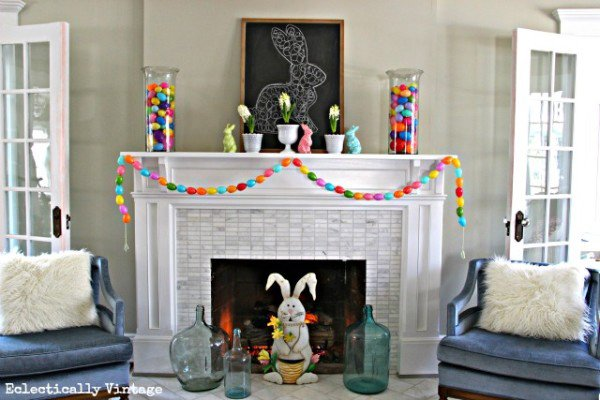 Spring Mantel and DIY Egg Garland