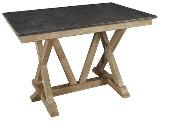 West Valley Rustic Casual Trestle Gathering Height Tables