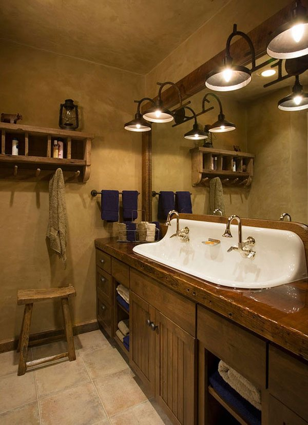 White Sink Rustic Bathroom