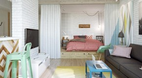 Delightful and Graphic Interior Moscow Studio Apartment