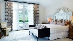 printed drapes bedroom