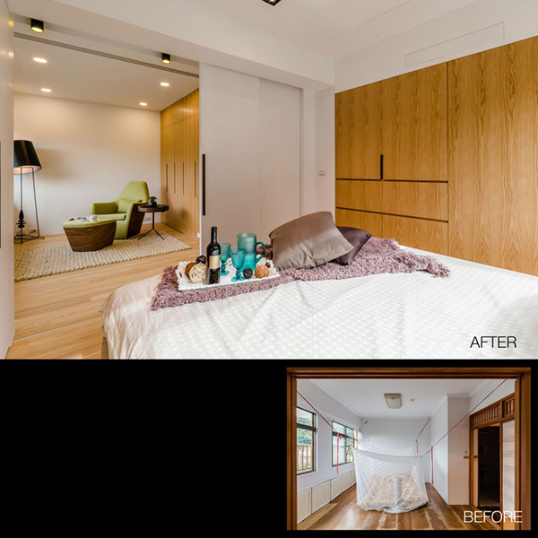Before and after the chen residence remodeling in taiwan for Taiwan bedroom design