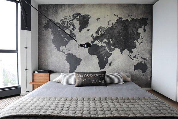 black world map headboard