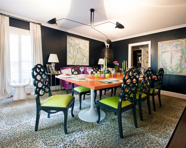 Leopard accents in 20 lovely dining rooms home design lover for Funky dining room ideas