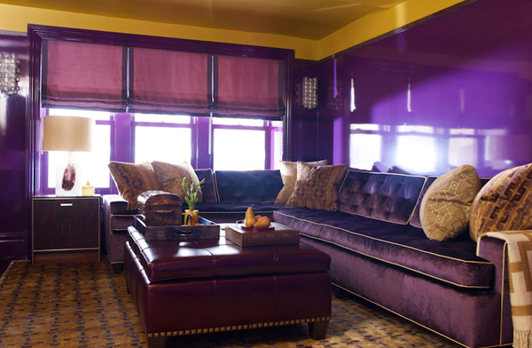 purple sectional - Purple Living Room