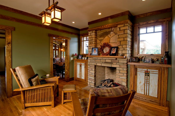 20 comfortable oak living room furniture home design lover for Craftsman style living room furniture