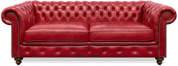 4. Chester Red Leather Sofa