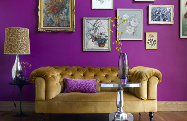 purple walls - Purple Living Room