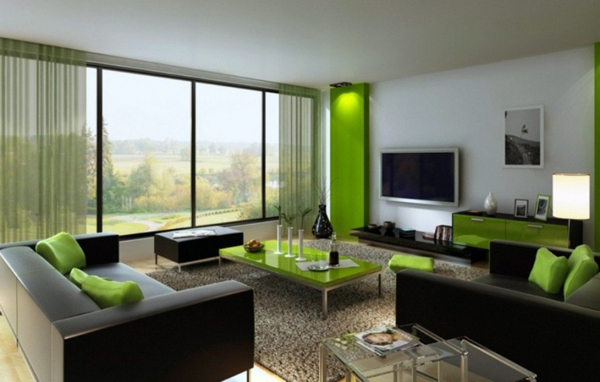 20 gorgeous black and green living rooms home design lover for Green and black living room ideas
