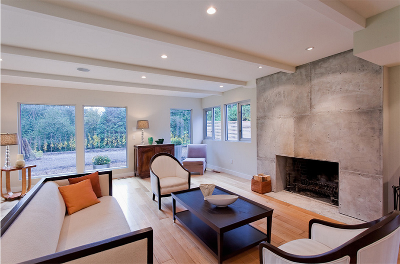 concrete fireplace designs highlighted in welldesigned living, Home designs
