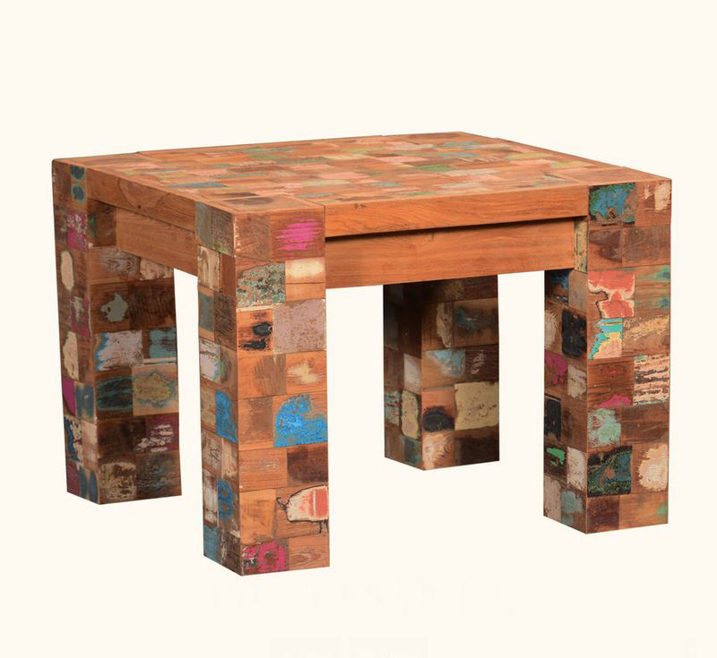 Speckled Mosaic Reclaimed Wood Modern Rustic Square End Tables