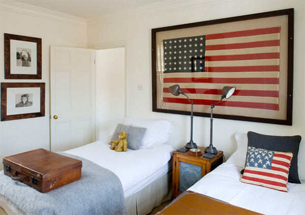 22 ideas to decorate your interior with flags home for American flag bedroom ideas