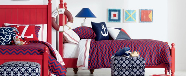 blue red white bedroom
