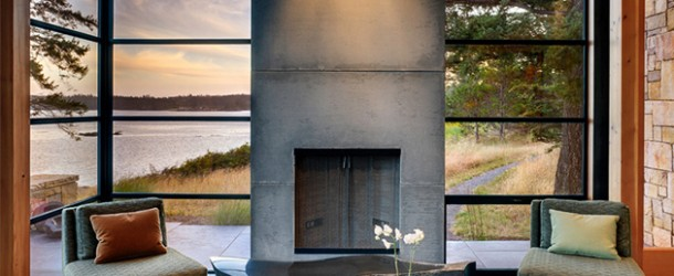 concrete fireplace lr
