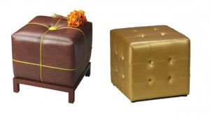 cube ottoman leather
