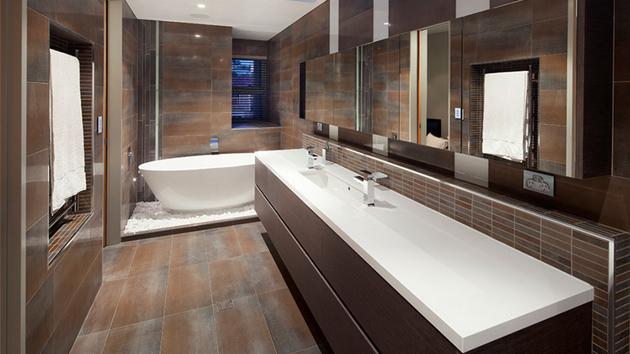 Stunning Contemporary Dark Wood Bathroom Vanity  Home Design Lover
