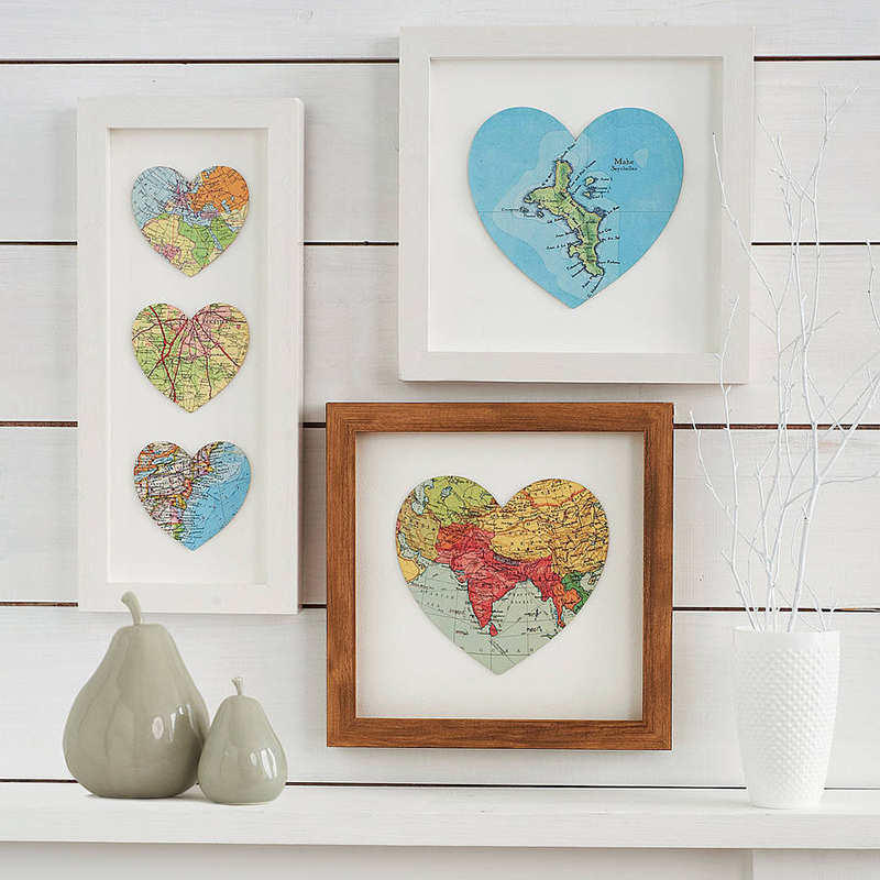 DIY Map Heart Art