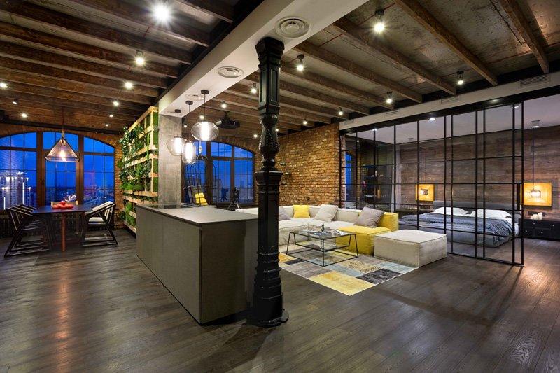 Modern Industrial Loft Apartment In Ukraine
