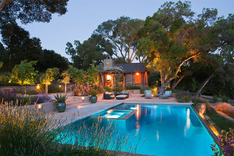 20 landscaping ideas for above ground swimming pool home for Pool design hillside