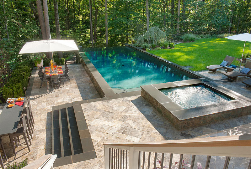 25 finest designs of above ground swimming pool home for Raised pool designs