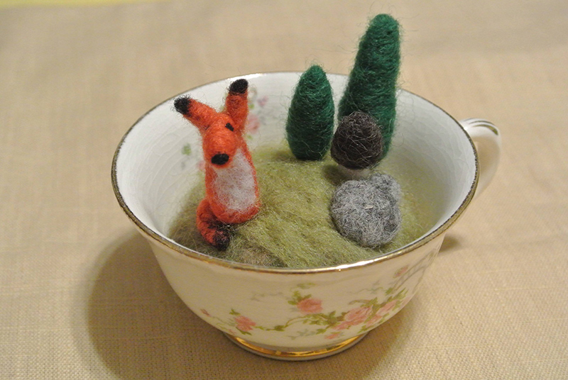 Forest Pincushion in a Teacup