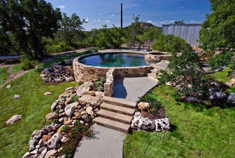 20 landscaping ideas for above ground swimming pool home for Pool design austin