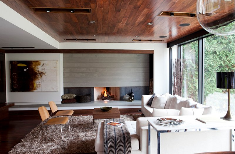 charming modern wood ceiling bedroom   23 Living Rooms with Wooden Ceilings Exuding a Warm Aura ...