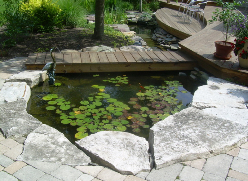 20 outdoor koi ponds to add a refreshing positive garden for Koi pond deck
