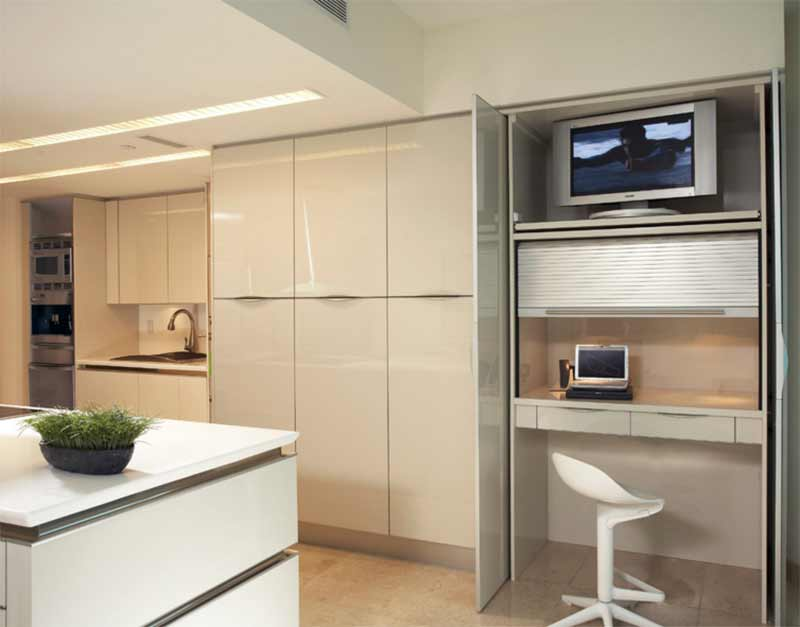 Minimalist Condo Great Room, Open-kitchen layout Remodel