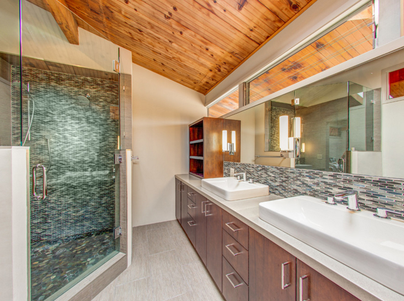 Lilium Designs Be Aware the beautiful ceiling in here   wood vaulted  ceiling with a protracted counter that showcases a double vanity with an  excessively. List Deluxe 20 Up To Date Bathrooms with Vaulted Ceiling   List Deluxe