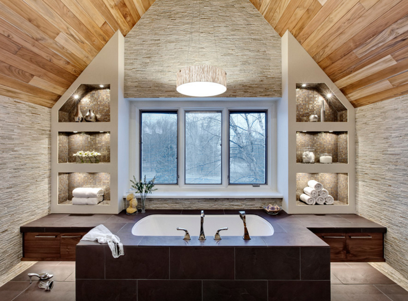 20 contemporary bathrooms with vaulted ceiling home for Master bathroom vaulted ceiling