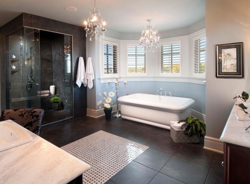 20 gorgeous bathroom crystal chandeliers home design lover for Gorgeous bathroom ideas