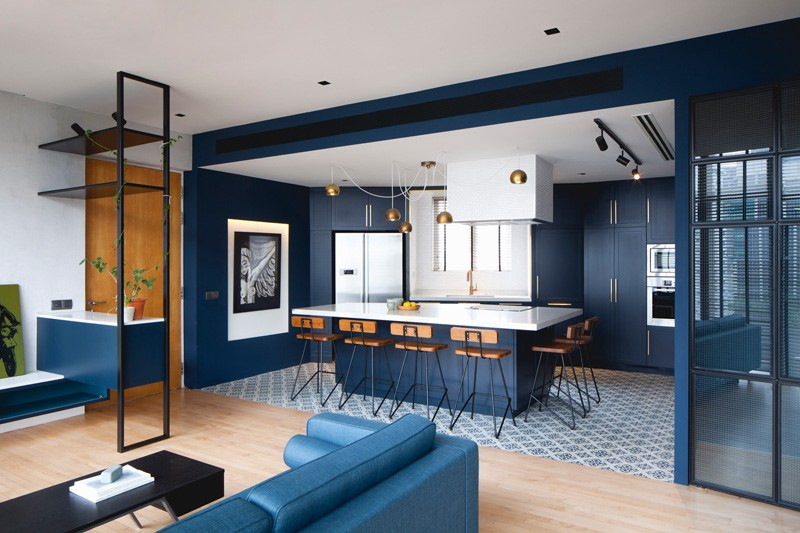 Apartment Interior Design Singapore a blue and black apartment in singapore | home design lover