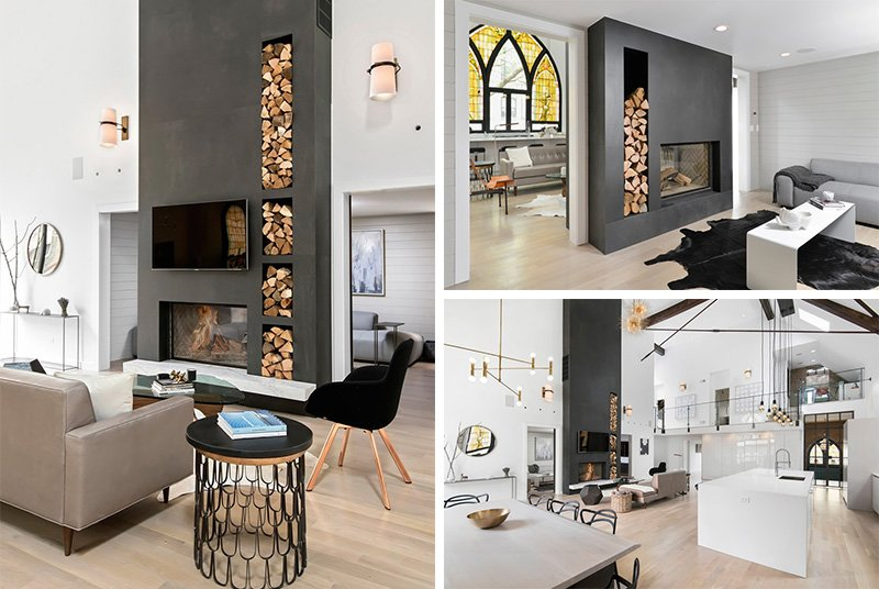 23 double sided fireplace designs in the living room