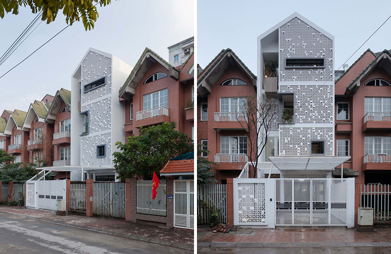 Unique concrete blocks in cocoon home 39 s facade in vietnam for Modern house hanoi