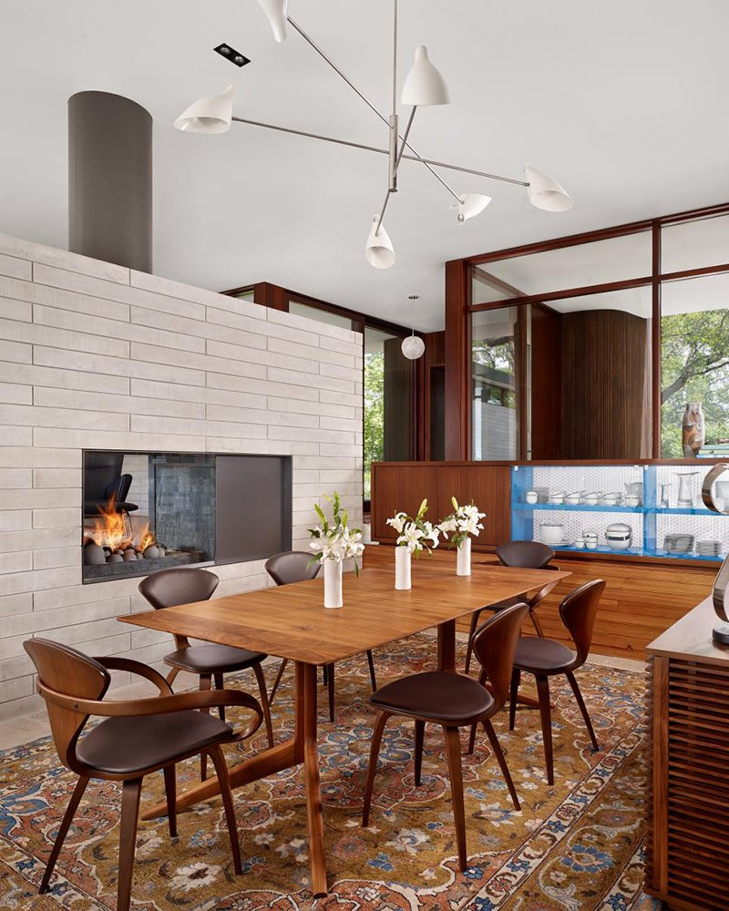 Midcentury Modern Dining Room Fireplace