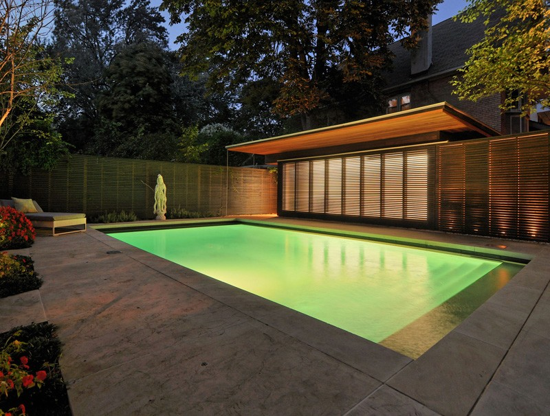 Pool Lighting Before And After : Before after update of a fence and garage in toronto