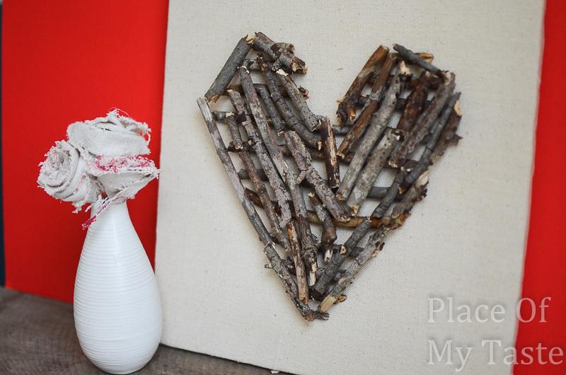 DIY Stick Heart Wall Art
