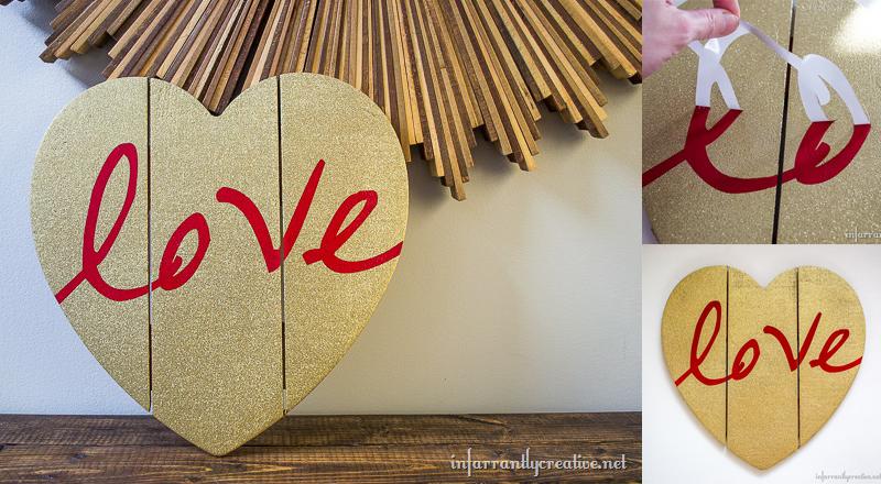 Gold Glittered Heart Wall Art
