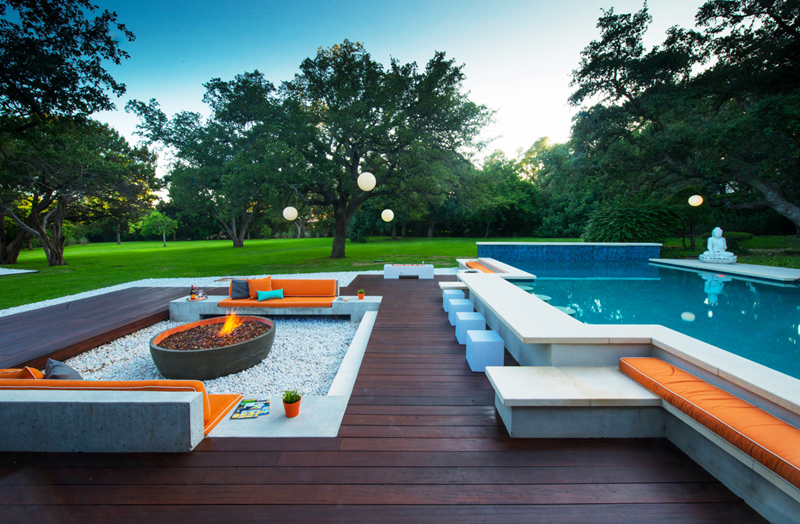 pool seating area