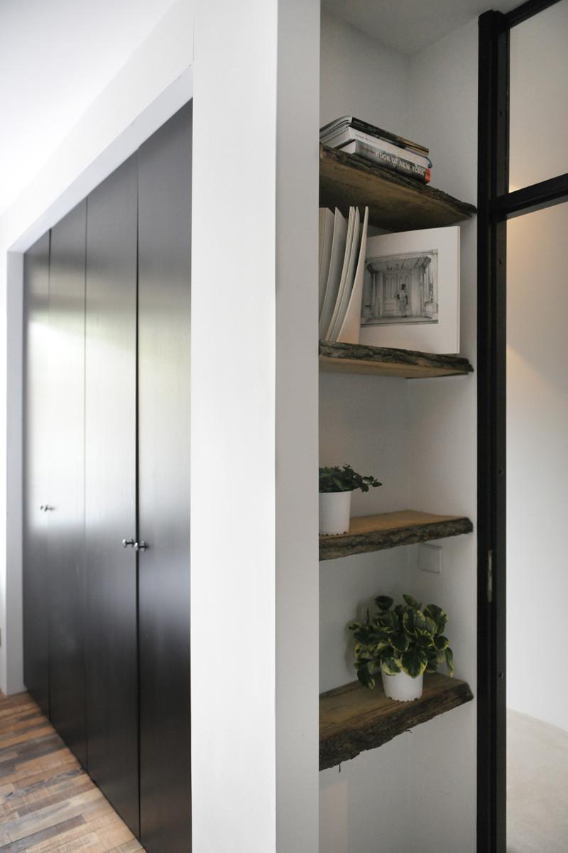 wooden black interior shelf