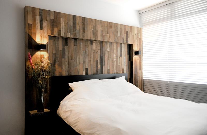 wooden black interior headboard