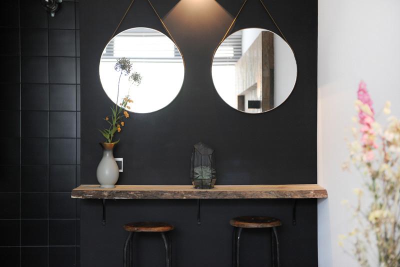 wooden black interior bathroom