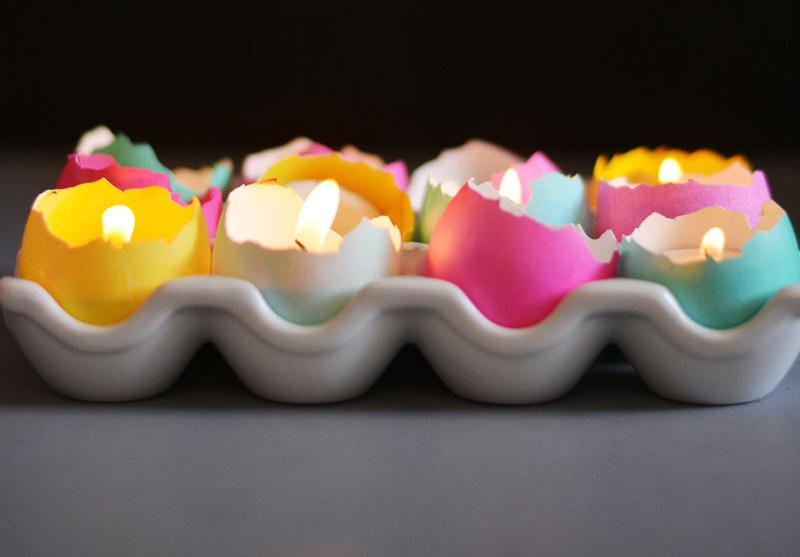DIY Eggshell Tealight Candle Centerpiece