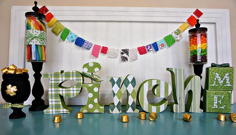 St. Patrick's day decor and Mason jar pot of gold