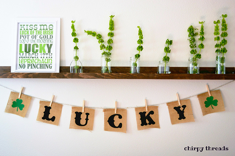 Lucky Shamrock Burlap Banner